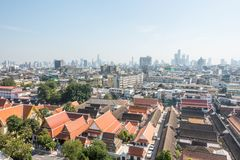 View of Bangkok from the Golden Mount at Wat Saket.  Stock Photo