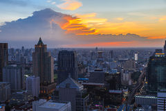 View of Bangkok Skyline at sunset Royalty Free Stock Photography