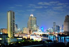 View of Bangkok Thaksin bridge Stock Photos