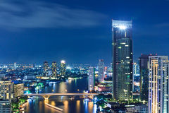 View of Bangkok city nights Stock Image