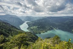 View from Banjska Stena on Drina river, Perucac lake, mountains, dam and border with Bosnia and Herzegovina stock image