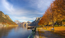 View of a bank of Ebensee lake with a maple alley Stock Photo