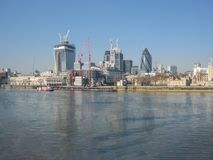 View of the banks of the River Thames, in London, UK royalty free stock photography