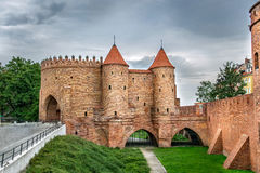 View on Barbakan walls and towers on a cloudy day, Warsaw Poland Royalty Free Stock Photography