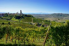 View of Barbaresco Tower and Alba valley. The village of barbaresco in Langhe, Piedmont, italy Royalty Free Stock Photos