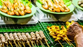 Barbecue on food market in Chiang Rai - Thailand royalty free stock images