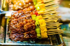 Barbecue on food market in Chiang Rai - Thailand stock photography