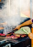 View on barbecue in Oaxaca city, Mexico royalty free stock photo