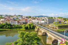 View at the Barcelinhos town with Cavado river - Portugal. View at the Barcelinhos town with Cavado river in Portugal royalty free stock photography