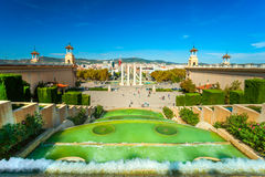 View of Barcellona from Montjuic,. Spain royalty free stock photography