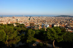 View of Barcelona. View of Barcelona from the Tibidabo hill Royalty Free Stock Photo