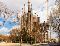 View of Barcelona,   Basilica and Expiatory Church of the Holy F Royalty Free Stock Photo