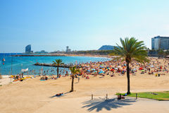 View of Barcelona beach. On a summer day Royalty Free Stock Photo