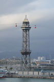 View of Barcelona cable car. Royalty Free Stock Photo
