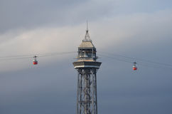 View of Barcelona cable car. Royalty Free Stock Images
