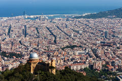 View of Barcelona city from mountain Tibidabo stock photo
