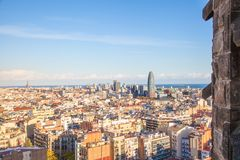 Barcelona City overview. View of Barcelona City to the water of the coast, taken from the Sagrada Familia Basilica Stock Image