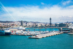 View of Barcelona from a cruise ship Royalty Free Stock Photos