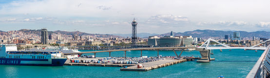 View of Barcelona from a cruise ship Royalty Free Stock Image
