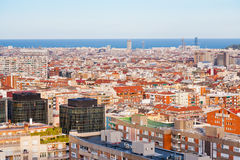 View of Barcelona in evening Stock Photography