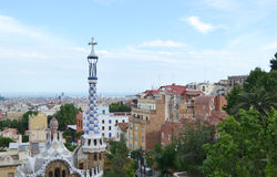 View of Barcelona, in the foreground Park Guell Stock Photos