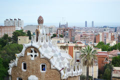 View of Barcelona, in the foreground Park Guell Royalty Free Stock Photo