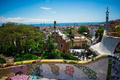View of barcelona from güell park, spain royalty free stock photo