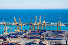 View of the Barcelona harbour Stock Images
