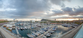 View on Barcelona Harbour and Montjuic Hill, Barcelona Stock Photo