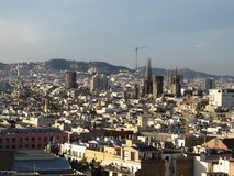 View of Barcelona from a height. Barcelona from a height. City Panarama of Barcelona. Center of Barcelona royalty free stock photo