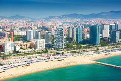 View of Barcelona from the helicopter. Beach and New houses at Sant Marti district stock photo