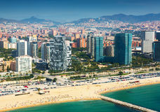 View of Barcelona from the helicopter. New houses at sea side stock photography