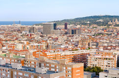 View on Barcelona and hill Montjuic Royalty Free Stock Photos