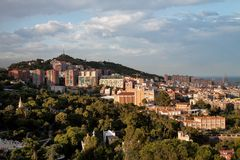 View on Barcelona hills Royalty Free Stock Images