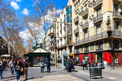 View of Barcelona, La Rambla Royalty Free Stock Image