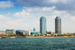 View of Barcelona from Mediterranean Royalty Free Stock Photos