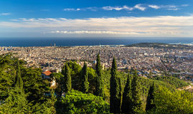 View of Barcelona and the Mediterranean Sea. Spain royalty free stock photos