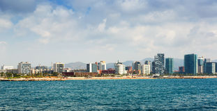 View of Barcelona from Mediterranean Royalty Free Stock Photo