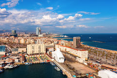 View of Barcelona and Mediterranean in sunny day Stock Photos
