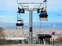 View of Barcelona. Montjuic Cable Car; Barcelona, Spain royalty free stock photo