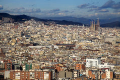View of Barcelona from Montjuic Hill. We can see Sagrada Familia Temple Royalty Free Stock Photography