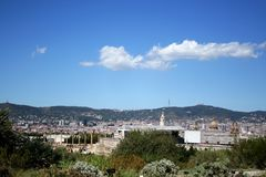 View of Barcelona from Montjuic hill Royalty Free Stock Images