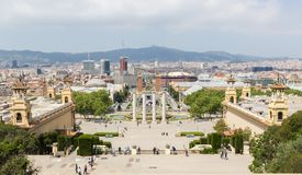 Panorama of Barcelona in spring time. View of Barcelona from National Museum of Catalan Art stock photography