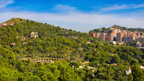 View of Barcelona and park Guel in sunny day Royalty Free Stock Photography