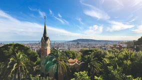 View of Barcelona from Park Guell in summer day. Panorama royalty free stock photo