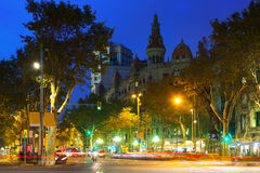 View of Barcelona,  Passeig de Gracia in autumn evening Royalty Free Stock Photo