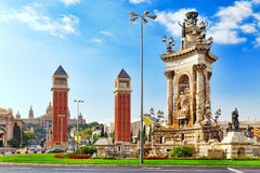 View in Barcelona on Placa De Espanya. stock image