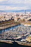 View of Barcelona from Port Vell side royalty free stock photos