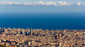 View of Barcelona with Sagrada Familia and Torre Agbar Royalty Free Stock Images