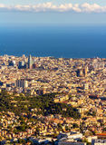 View of Barcelona with Sagrada Familia and Torre Agbar Royalty Free Stock Photography